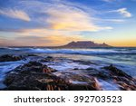 table mountain at sunset  south ... | Shutterstock . vector #392703523