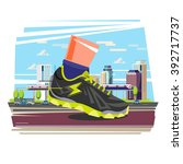 giant running shoe with city in ... | Shutterstock .eps vector #392717737