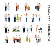 family icons set with parents... | Shutterstock .eps vector #392749993