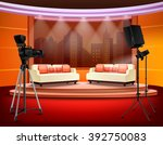 talk show studio interior with... | Shutterstock .eps vector #392750083