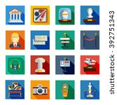 museum flat squared icon set... | Shutterstock .eps vector #392751343