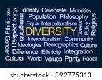 diversity word cloud on blue... | Shutterstock . vector #392775313