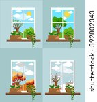 window in the flat style ... | Shutterstock .eps vector #392802343