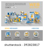 flat web design template of one ... | Shutterstock .eps vector #392823817