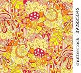 colorful harmonious doodle... | Shutterstock .eps vector #392835043