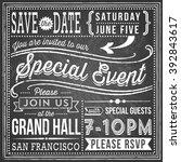 vintage chalkboard invitation   ... | Shutterstock .eps vector #392843617
