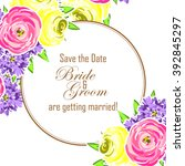 invitation with floral... | Shutterstock .eps vector #392845297