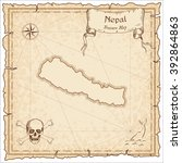 nepal old pirate map. sepia... | Shutterstock .eps vector #392864863