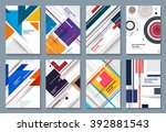 Abstract Backgrounds Set. Geometric Shapes and Frames for Presentation, Annual Reports, Flyers, Brochures, Leaflets, Posters, Business Cards and Document Cover Pages Design. A4 Title Sheet Template. | Shutterstock vector #392881543