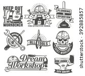set of vintage logos to repair... | Shutterstock .eps vector #392885857