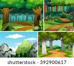 four nature scenes with forest... | Shutterstock .eps vector #392900617
