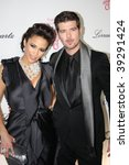 NEW YORK, NY - OCTOBER 20: Paula Patton (L) and Robin Thicke (R) attend the 2009 Angel Ball on October 20, 2009 in New York City. - stock photo