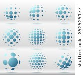 set of abstract dotted vector... | Shutterstock .eps vector #392929177