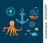 vector set of marine objects... | Shutterstock .eps vector #392931097
