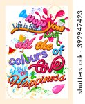 happy holi  festival of colors .... | Shutterstock .eps vector #392947423