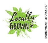 locally grown. motivational... | Shutterstock .eps vector #392955847