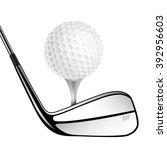 golf ball and golf stick... | Shutterstock .eps vector #392956603