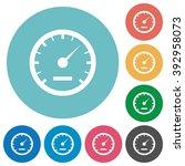 flat speedometer icon set on...