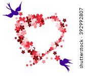 two birds build love heart... | Shutterstock .eps vector #392992807