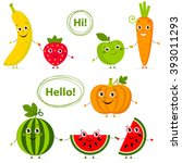 funny fruits and vegetables...   Shutterstock .eps vector #393011293