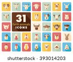 set of farm animals flat icons. ... | Shutterstock .eps vector #393014203