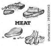 hand drawn meat. meat food.... | Shutterstock .eps vector #393035443