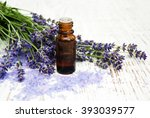 lavender  sea salt and oil on a ... | Shutterstock . vector #393039577