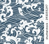 pattern seamless ocean waves... | Shutterstock .eps vector #393055297