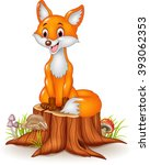 cartoon happy fox sitting on... | Shutterstock . vector #393062353