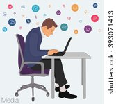work in office  project manager ... | Shutterstock .eps vector #393071413
