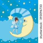 fairy on moon. | Shutterstock . vector #393096733