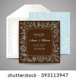 set of wedding cards. floral... | Shutterstock .eps vector #393113947