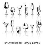 set of alcohol drinks and... | Shutterstock .eps vector #393113953