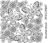 hand drawn flowers and... | Shutterstock .eps vector #393119887