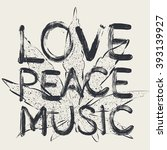 Vector Love Peace Music  T...