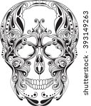 skull ornament  black and white ... | Shutterstock .eps vector #393149263