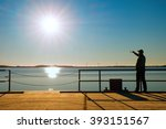man on wharf construction and... | Shutterstock . vector #393151567
