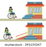 young woman in a wheelchair in... | Shutterstock .eps vector #393155347