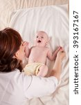 doctor makes small baby kid... | Shutterstock . vector #393167167