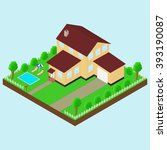 isometric house 3d icon.... | Shutterstock . vector #393190087