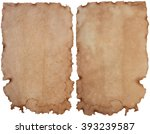 Small photo of Old paper isolated on a white background,cryptic writing