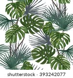 tropical leaves on a white... | Shutterstock .eps vector #393242077