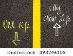 road marking yellow paint... | Shutterstock . vector #393246103