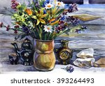 watercolor still life with... | Shutterstock . vector #393264493