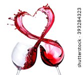 Two Glasses Of Red Wine. Heart...