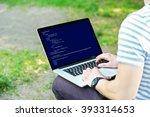 man using laptop  writing... | Shutterstock . vector #393314653