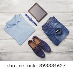 man's clothing  watch and tablet | Shutterstock . vector #393334627