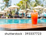 cocktail glasses at pool  beach ... | Shutterstock . vector #393337723