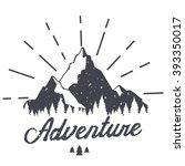 vector mountain with texture.... | Shutterstock .eps vector #393350017