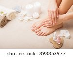 french manicure and pedicure | Shutterstock . vector #393353977